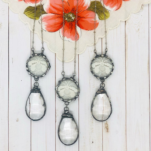 Chandelier Drop and Lace Bee Necklace