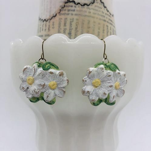 White Daisy Earrings