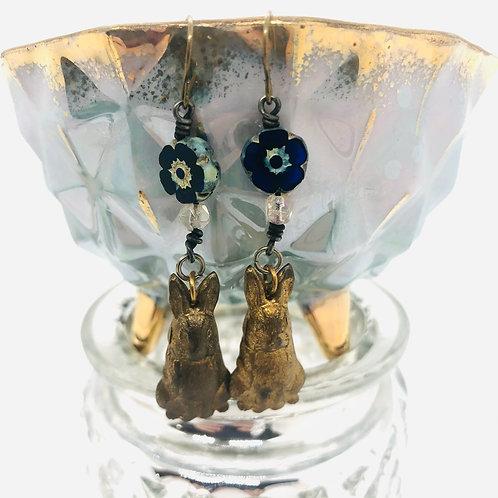 Brass Bunnies Earrings