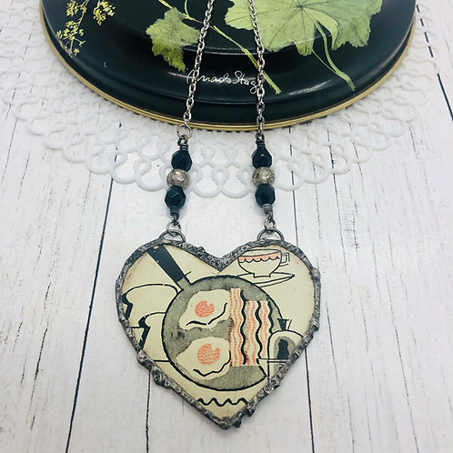 Tin Hearts Necklace - Bacon & Eggs