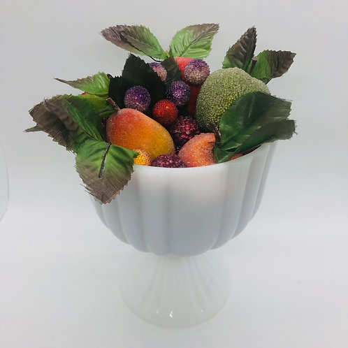 Sugared Fruit and Milk Glass