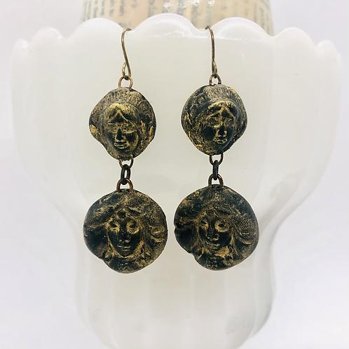 Black and Gold Goddess Earrings