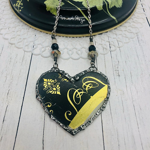 Tin Hearts Necklace - Black & Gold