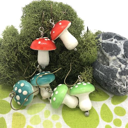 Spun Cotton Mushroom Earrings