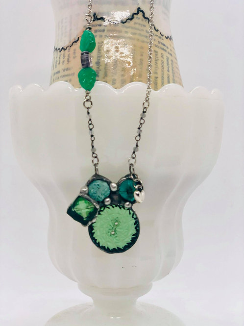Emerald Glass Buttons Necklace