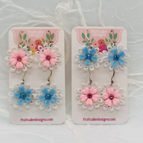 2 Pair Spring Flower Earrings