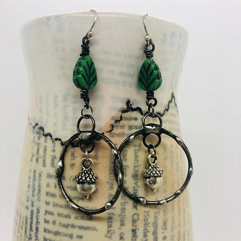 Charmed acorn ring earrings