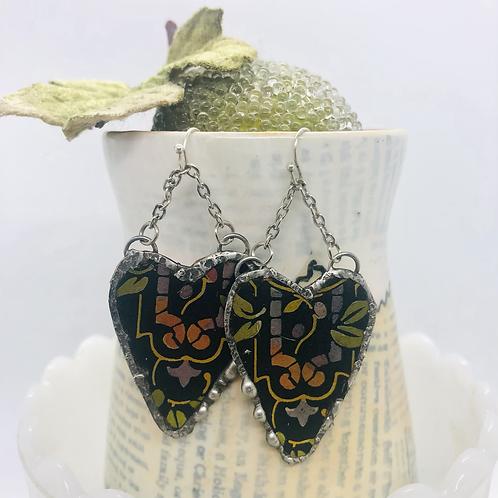 Tin Heart Earrings - Black Rainbow