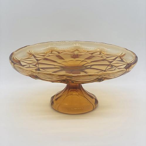 Amber Glass Dessert Stand