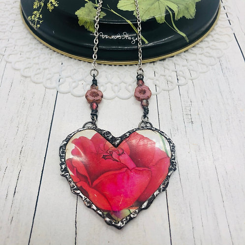 Tin Hearts Necklace - Rose