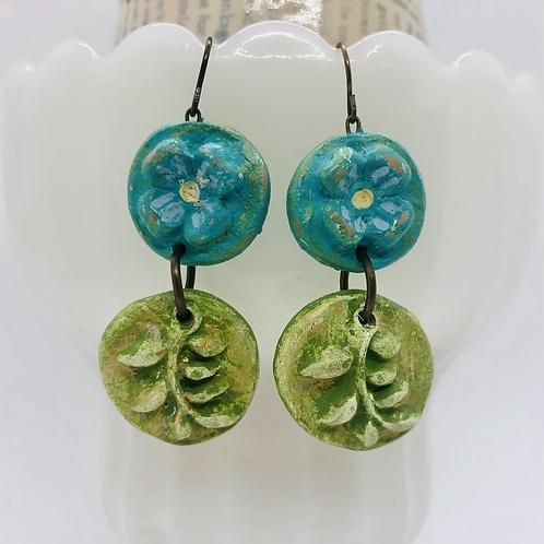 Blue Garden Flower Earrings