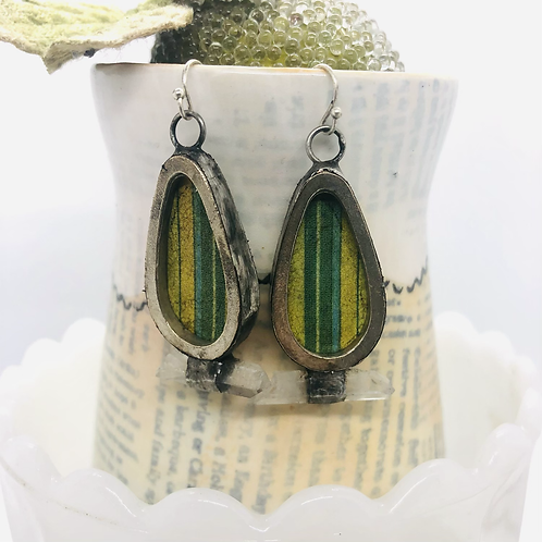 Tin Rain Drop Earrings - Green Stripes