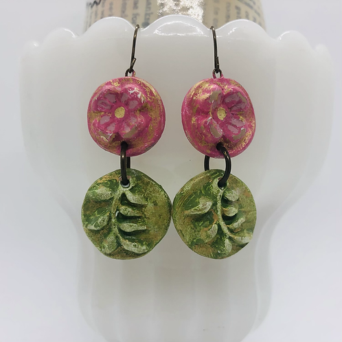 Pink Garden Flower Earrings