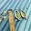Thumbnail: Tin Rain Drop Earrings - Green Stripes
