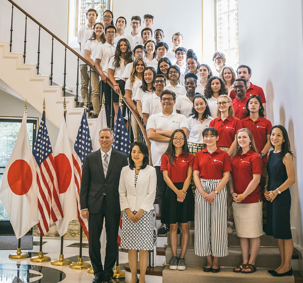 Fellows 2019, Teaching Assistants and Yumi Kuwana with Joe Young, the United States Chargé d'Affaires, and Kaori Kono, wife of the Foreign Minister of Japan at the U.S. Ambassador's Residence