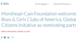 Partnership with the Morehead-Cain Foundation
