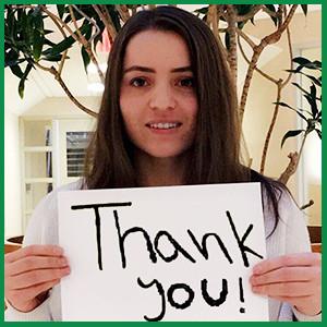 Aziza (Ambassador 2014) saying Thank You!