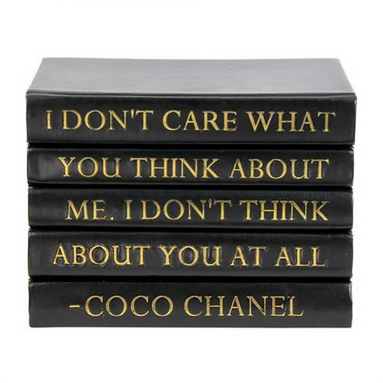 "Coco Chanel Quoted Display Books, ""Don't Care"""