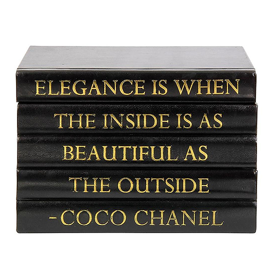 "Coco Chanel Quote Display Books, ""Elegance"""