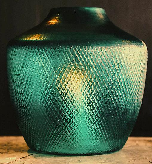 Diamond Cut Hurricane Lantern, Emerald