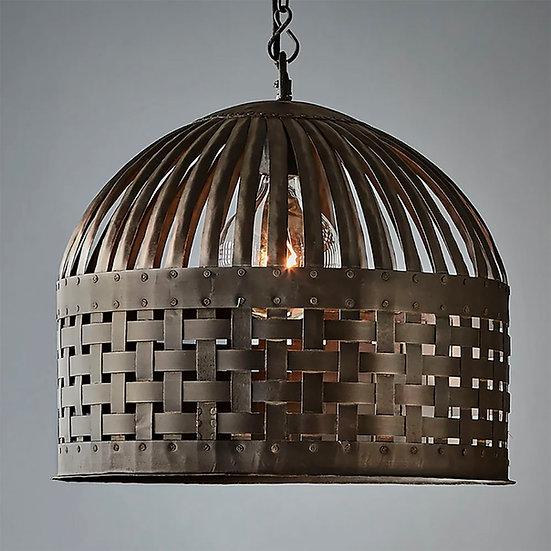 Metal Basket Medium Pendant, Aged Iron