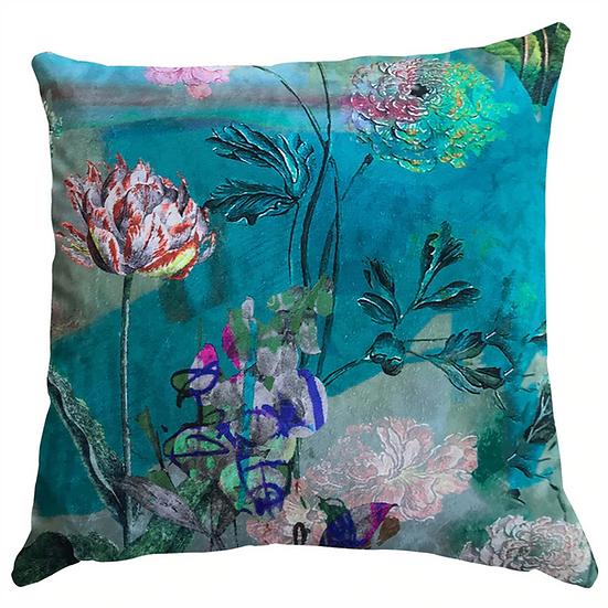 Cushion, Aqua Mint Floral