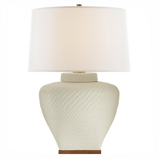 RALPH LAUREN Isla Small Table Lamp, White Leather Ceramic
