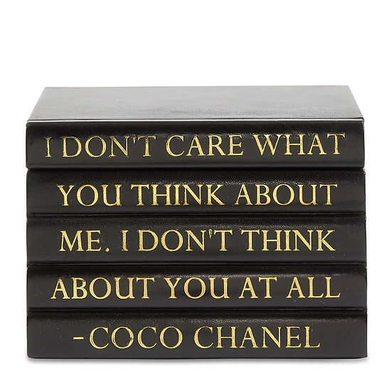 "Coco Chanel Quote Black Leather Bound Box, ""Don't Care"","