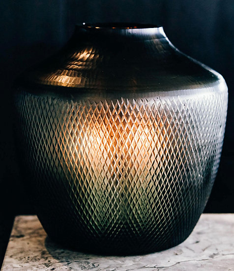 Diamond Cut Hurricane Lantern, Dark Olive