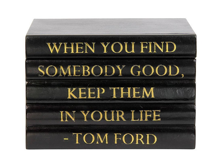 """Tom Ford Quote Black Leather Bound Box, """"Somebody Good"""""""
