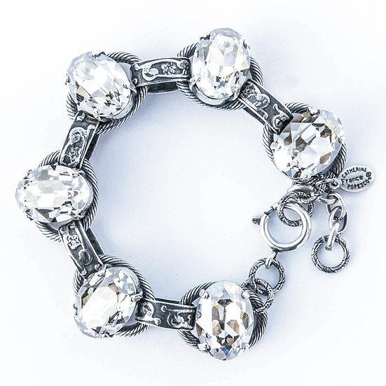 Crystal & Engraved Silver Bracelet
