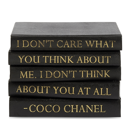 "Coco Chanel Quote Display Books, ""Don't Care"" Shagreen"