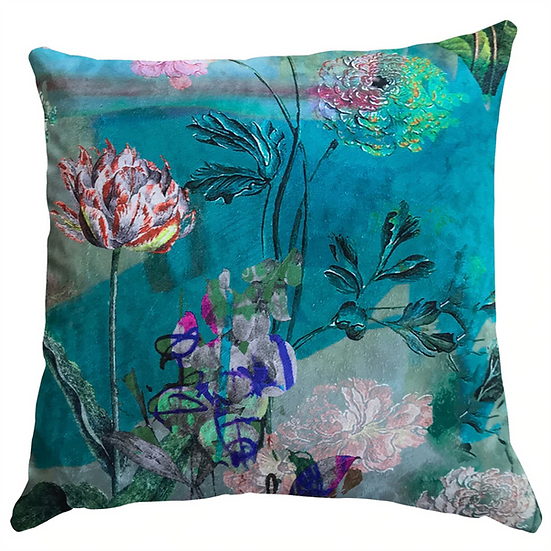 Cushion, Aqua Mint Floral