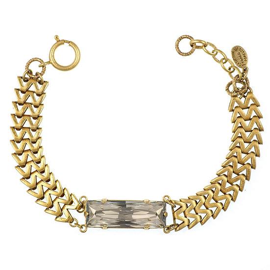 Baguette Crystal on Gold Zigzag Chain Bracelet