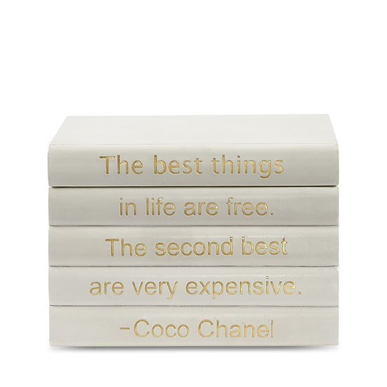 "Coco Chanel Quote ""Best Things"" Leather Bound Box"