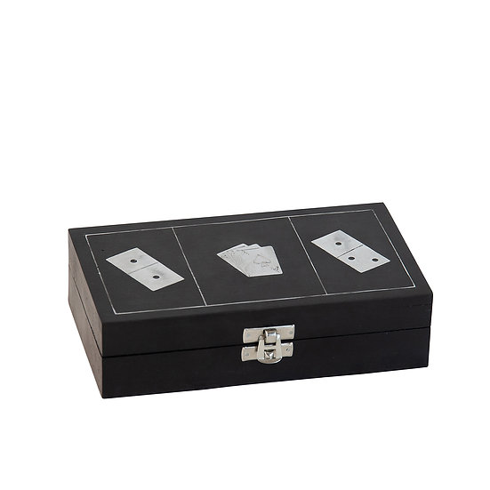 Domino & Card Set, Black & Silver