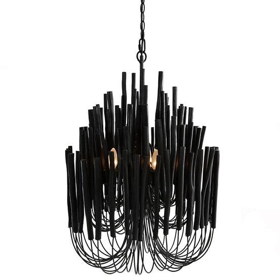 Wood Candlestick Chandelier, Black
