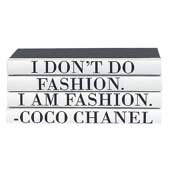 "Coco Chanel Quote Display Books, ""Fashion"""