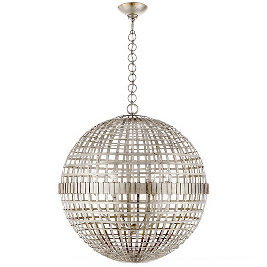 AERIN Mill Large Globe Lantern, Burnished Silver Leaf