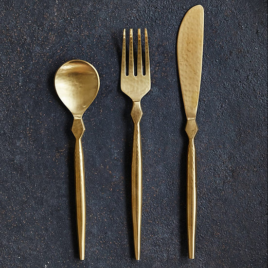 Stainless Steel 3 Piece Cutlery Set, Gold