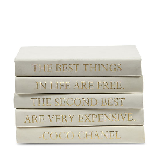 """Coco Chanel Quote Display Books, """"Best Things"""" Ivory Leather"""