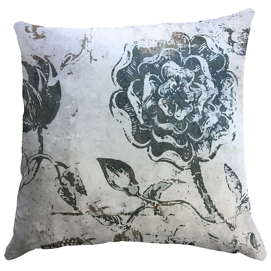 Cushion, Soft Blue Grey Floral