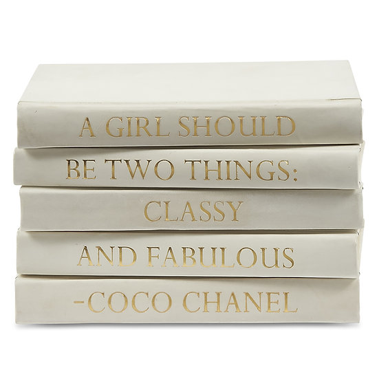 "Coco Chanel Quote Display Books, ""Fabulous"" Ivory Leather"