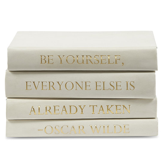 "Oscar Wilde Quote Display Books, ""Be Yourself"" Ivory"