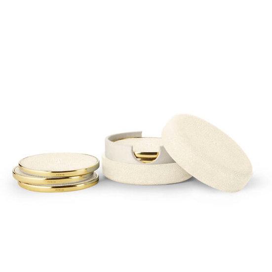 AERIN Shagreen Cream Coasters, Set of 4