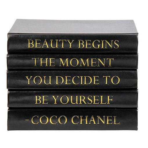 "Coco Chanel Quote Display Books,""Beauty"""