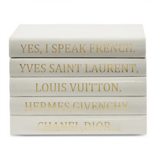 """I Speak French"" White Leather Bound Box"