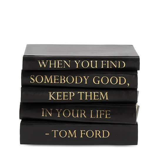 "Tom Ford Quote Display Books, ""Somebody Good"" Black Leather"