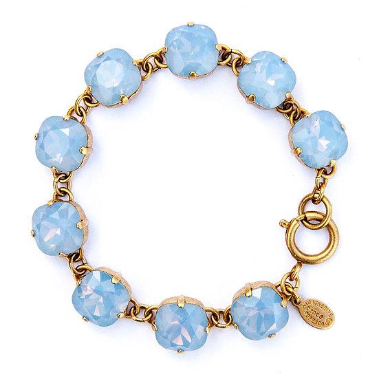 Sky Blue Crystal & Gold Plate Bracelet