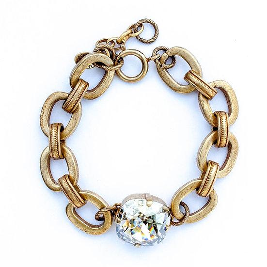 Chunky Gold Bracelet with Jumbo Crystal